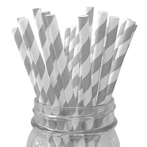 Grey Striped 25pc Paper Straws