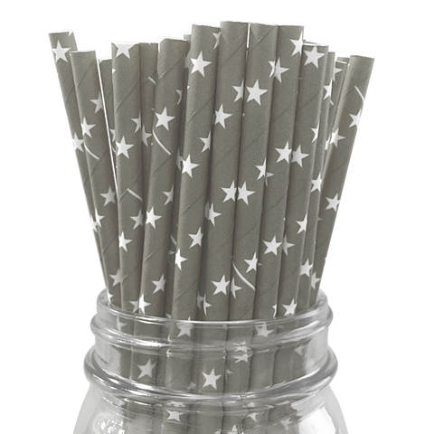 Grey with White Stars 25pc Paper Straws