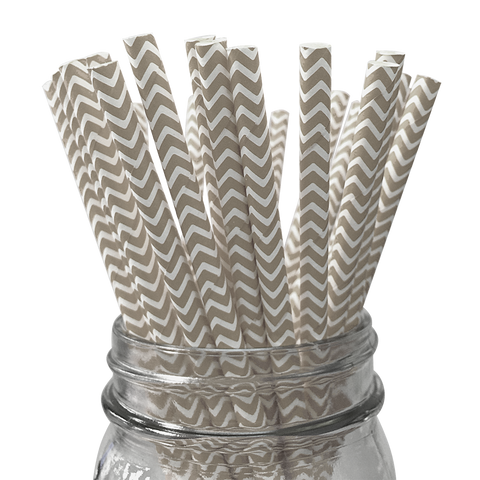 Grey Chevron Striped 25pc Paper Straws.