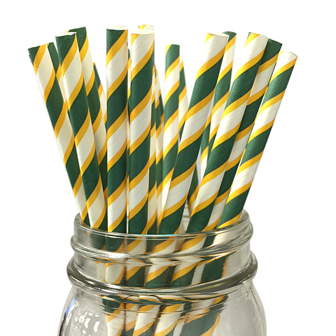 Pine Green and Yellow Striped 25pc Paper Straws