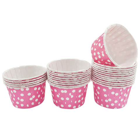 Pink with White Polka Dot Mini Cupcake Paper Cups