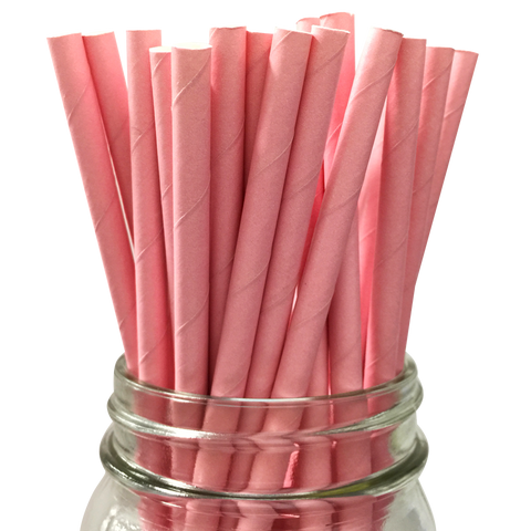 Pink Solid 25pc Paper Straws