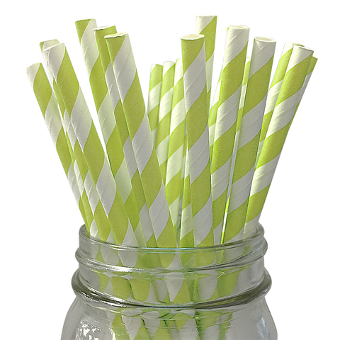 Pistachio Striped 25pc Paper Straws