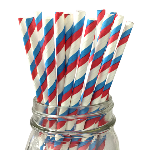 Powder Blue and Red Striped 25pc Paper Straws
