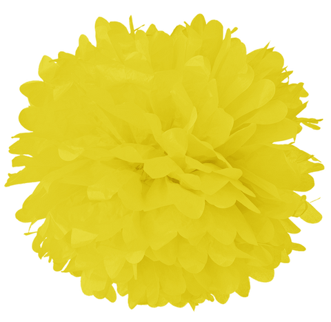 "10"" Process Yellow Tissue Pom Poms."