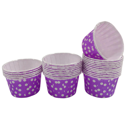Purple with White Polka Dot Mini Cupcake Paper Cups