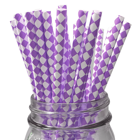 Purple Harlequin Diamond 25pc Paper Straws.