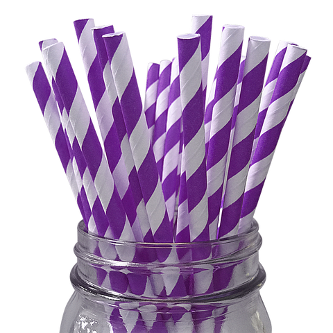 Purple Striped 25pc Paper Straws
