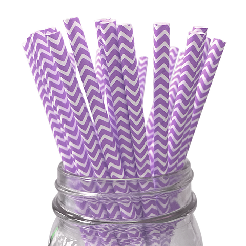 Purple Chevron Striped 25pc Paper Straws