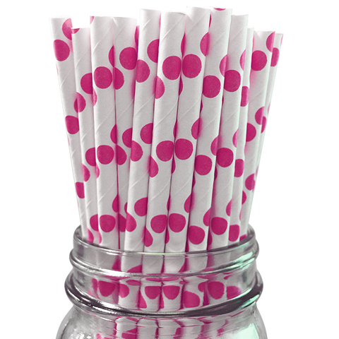 Raspberry Polka Dot 25pc Paper Straws