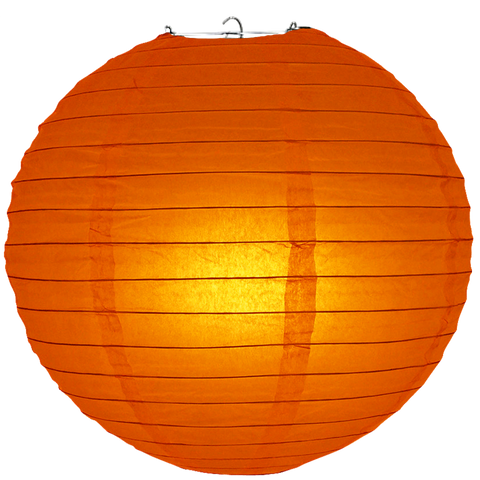 Red Orange Ribbed Paper Lanterns