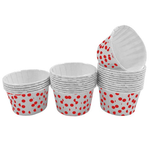 White with Red Polka Dot 10pc Mini Paper Cups.