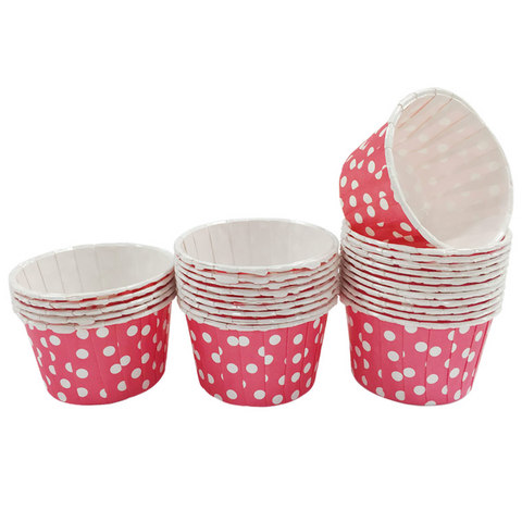 Red with White Polka Dot 10pc Mini Paper Cups.