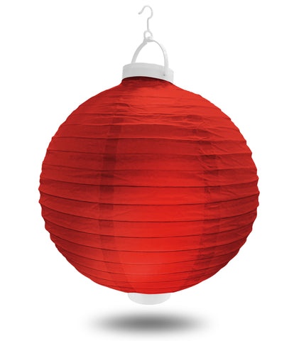 "8"" Red Battery Operated LED Paper Lanterns."