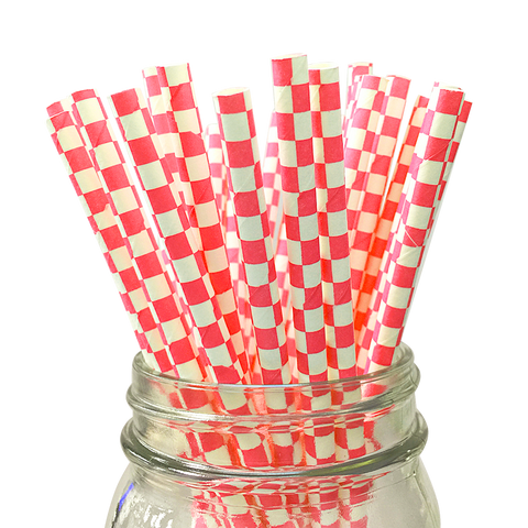 Red Checkered 25pc Paper Straws