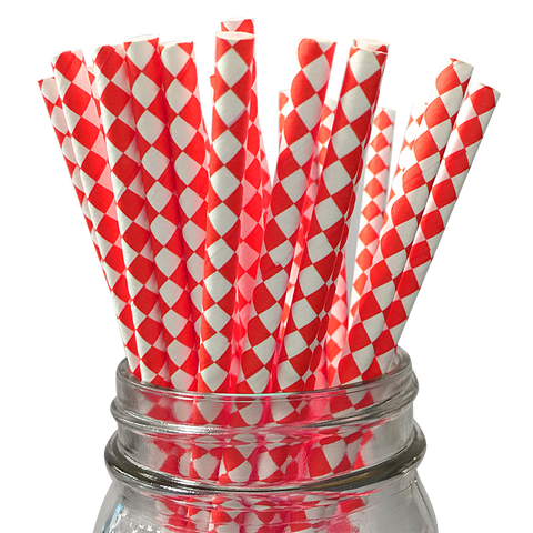 Red Harlequin Diamond 25pc Paper Straws