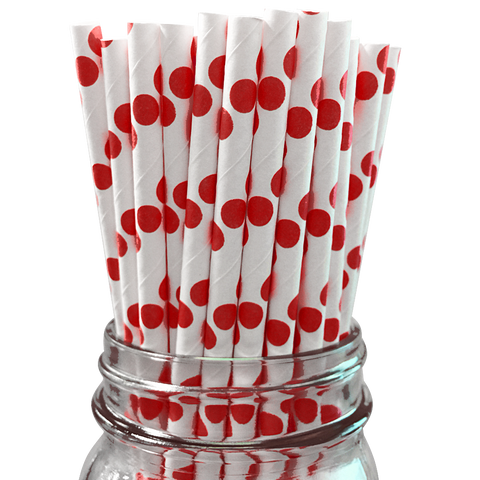 Red Polka Dot 25pc Paper Straws
