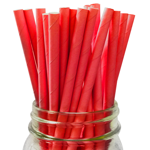Red Solid 25pc Paper Straws.