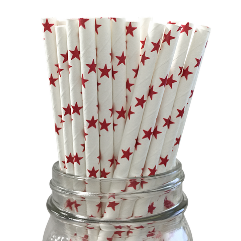 Red Stars 25pc Paper Straws