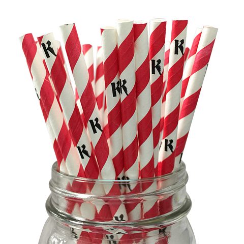 Red Stripe K 25pc Paper Straws