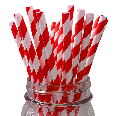 Red Striped 25pc Paper Straws.
