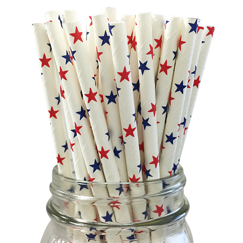 Red and Blue Stars 25pc Paper Straws.
