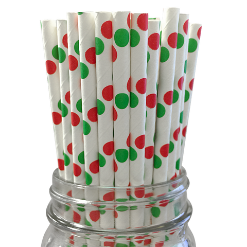 Red and Green Polka Dot 25pc Paper Straws.
