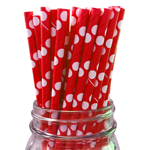 Red with White Polka Dot 25pc Paper Straws.