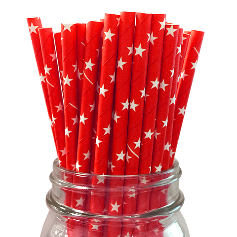 Red with White Stars 25pc Paper Straws