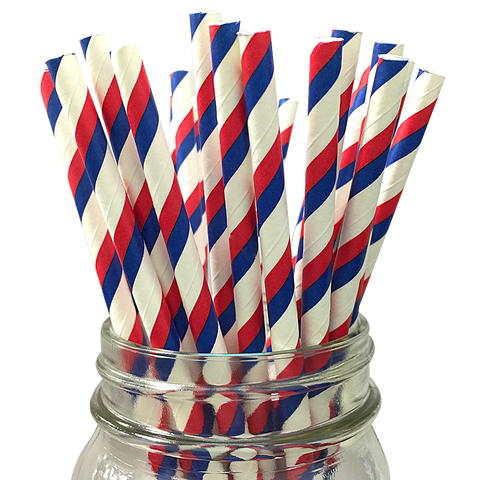 Royal Blue and Red Striped 25pc Paper Straws