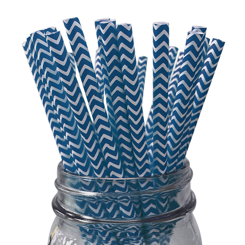 Royal Blue Chevron Striped 25pc Paper Straws.