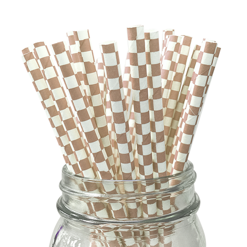 Tan Checkered 25pc Paper Straws