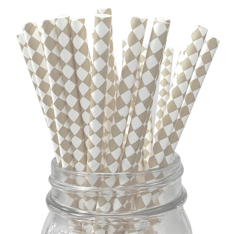 Tan Harlequin Diamond 25pc Paper Straws