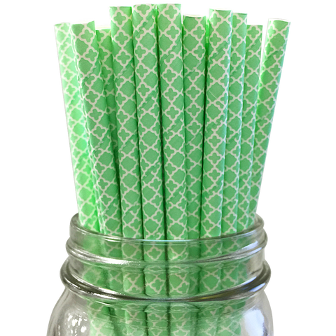 Seafoam Damask 25pc Paper Straws