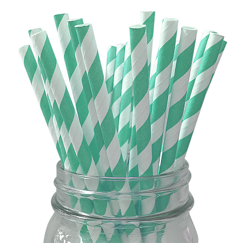 Seafoam Striped 25pc Paper Straws