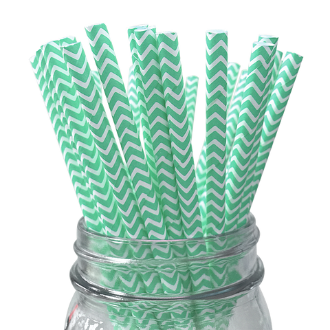 Seafoam Chevron Striped 25pc Paper Straws.