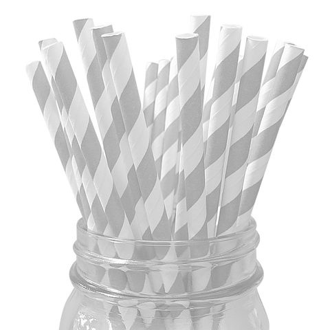 Silver Striped 25pc Paper Straws