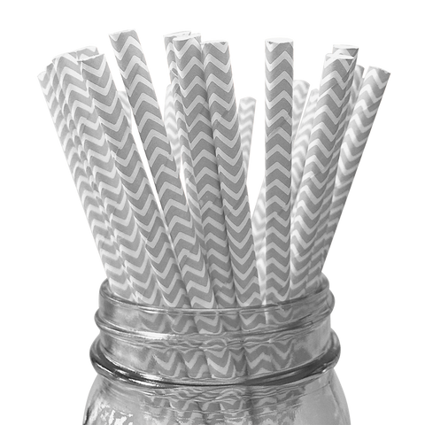 Silver Chevron Striped 25pc Paper Straws