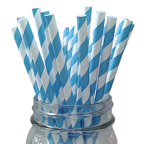 Sky Blue Striped 25pc Paper Straws