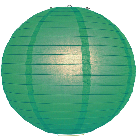 Teal Blue Green Ribbed Paper Lanterns