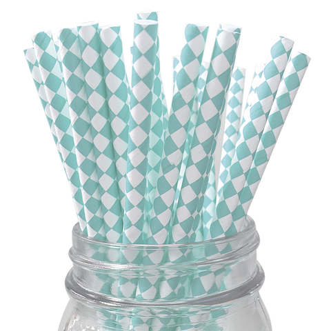 Teal Harlequin Diamond 25pc Paper Straws