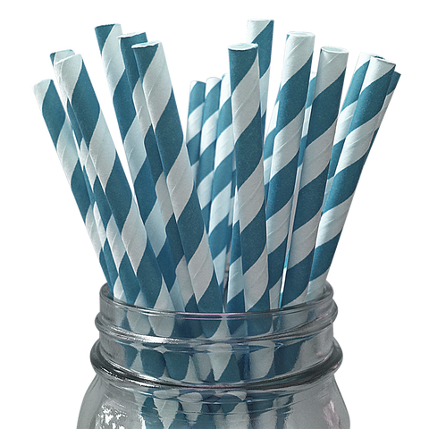 Teal Striped 25pc Paper Straws