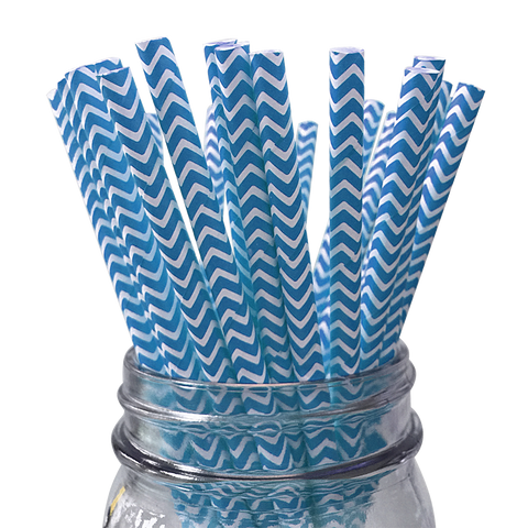 Teal Chevron Striped 25pc Paper Straws