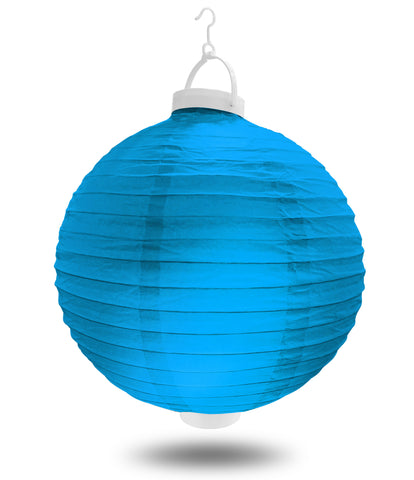 "8"" Blue Battery Operated LED Paper Lanterns."