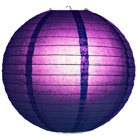 Violet Ribbed Paper Lanterns