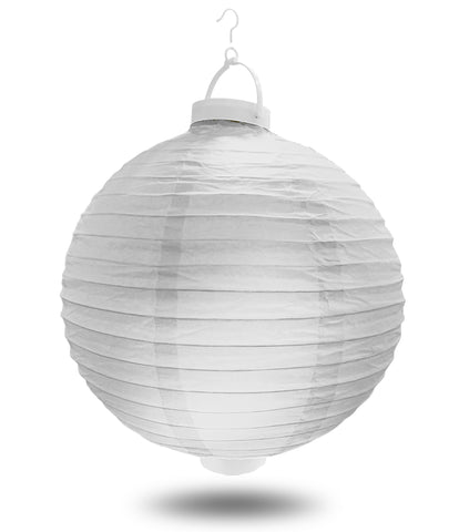 "8"" White Battery Operated LED Paper Lanterns."