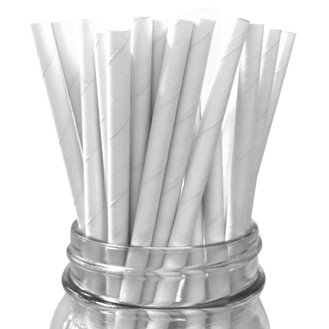 White Solid 25pc Paper Straws.