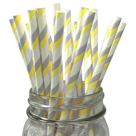 Yellow and Grey Striped 25pc Paper Straws
