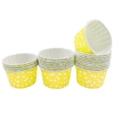 Yellow with White Polka Dot Mini Cupcake Paper Cups