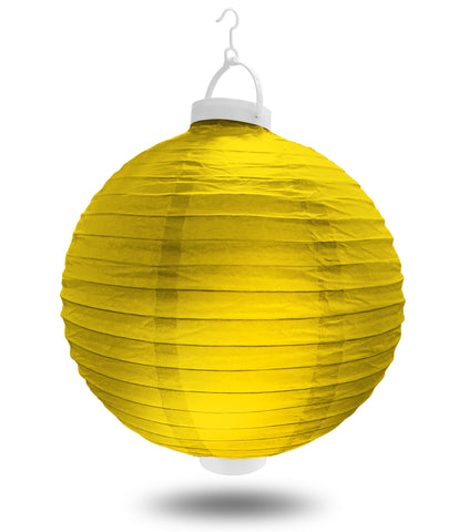 "8"" Yellow Battery Operated LED Paper Lanterns."